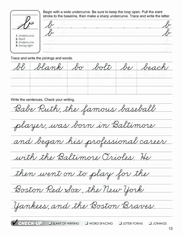 Cursive Writing Worksheets Sentences English Cursive Handwriting Worksheets Pdf