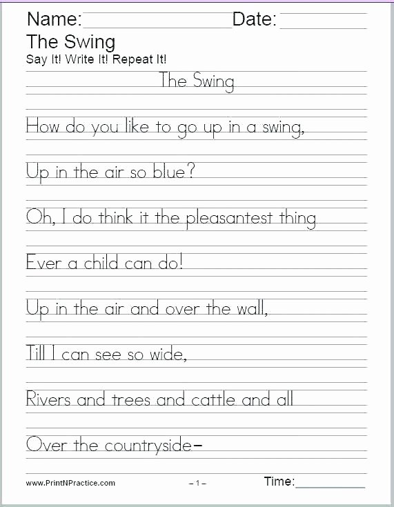 Cursive Writing Worksheets Sentences Free Printable Handwriting Free Name Writing Worksheets for
