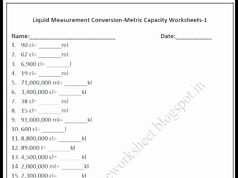 Customary Capacity Conversion Worksheets 4th Grade Measurement Worksheets Free Library Download and