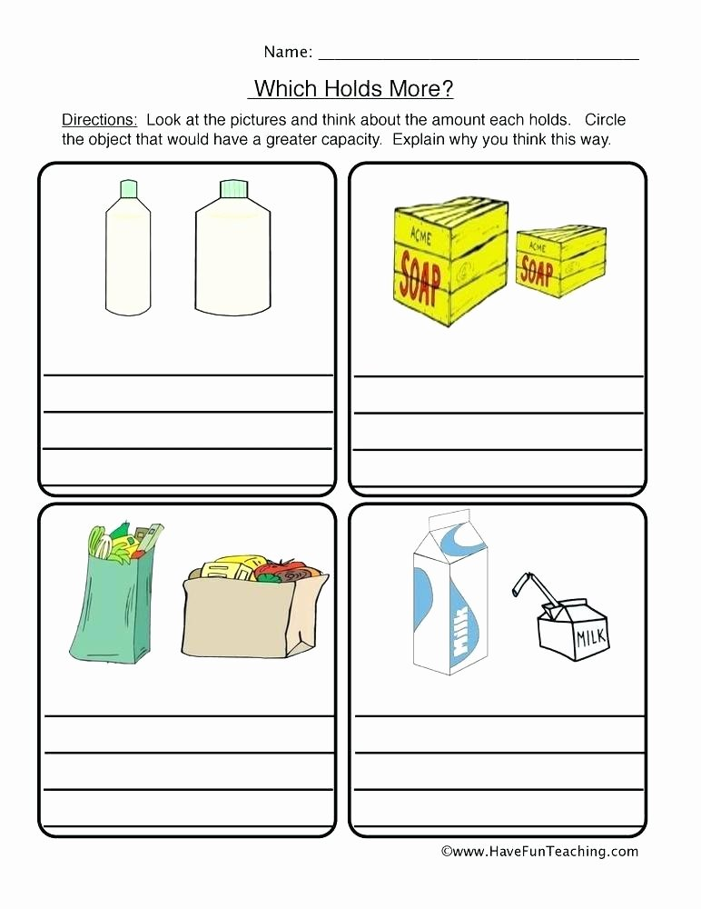 Customary Capacity Conversion Worksheets Volume Worksheets for Kindergarten