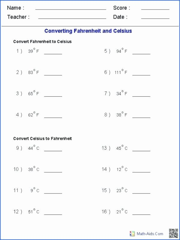Customary Capacity Worksheets Converting Temperature Measurements Worksheets Metric