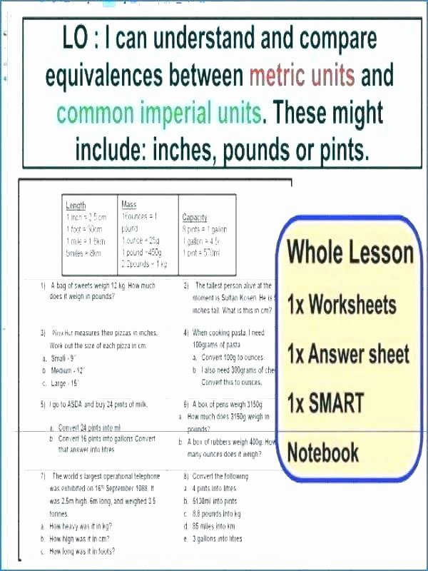 Customary Conversions Worksheet Converting Ounces to Pounds Worksheets