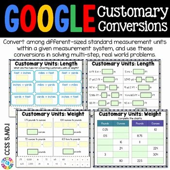 Customary Measurement Conversion Worksheet 5th Grade Measurement Customary Conversions 5 Md 1 Google Classroom