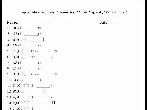 Customary Measurement Conversion Worksheet Metric System Worksheets