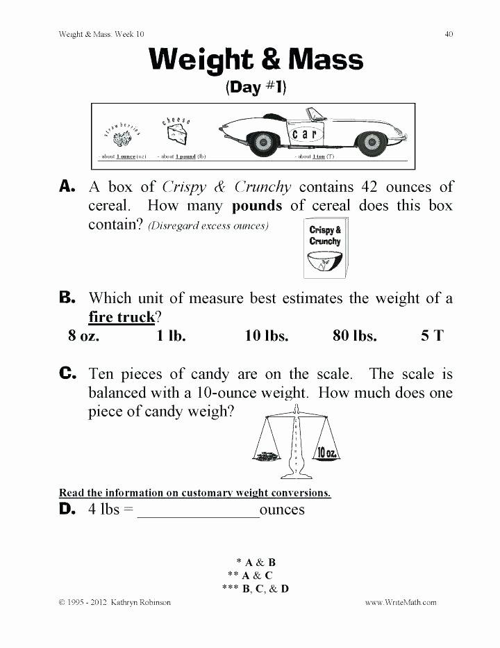 Customary Unit Conversion Worksheet Unit Conversions Weight Math Teaching Weight Mass Grade Math