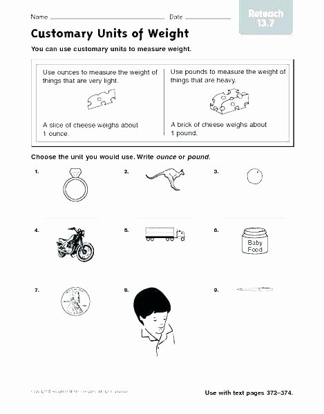 Customary Units Of Capacity Worksheet Mass Word Problems Worksheets