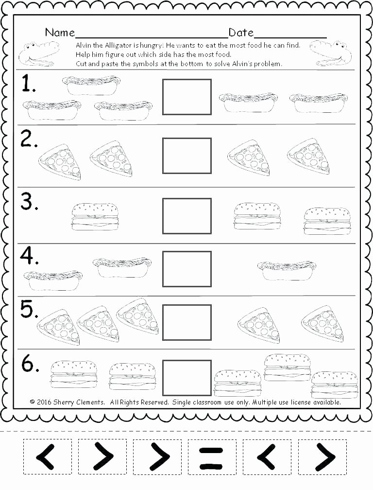 Cut and Paste Math Worksheets Kindergarten First Grade Math Worksheets