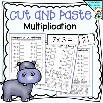 Cut and Paste Math Worksheets Multiplication Mixed order Cut and Paste Math Worksheets Printables