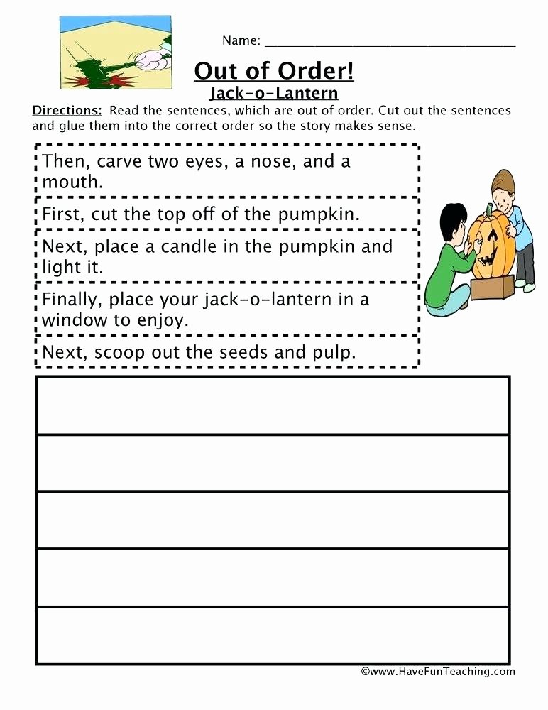 Cut and Paste Sequencing Worksheets Resources Worksheets Carving A Pumpkin Sequencing Worksheet