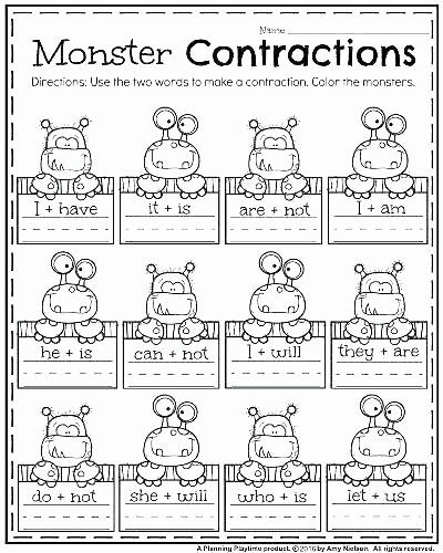Cut and Paste Worksheets Awesome Free Printable Contraction Wor Contractions First Grade for