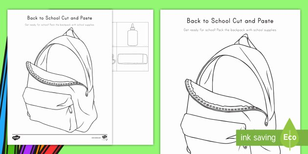 Cut and Paste Worksheets Free Back to School Cut and Paste Worksheet Worksheet Usa