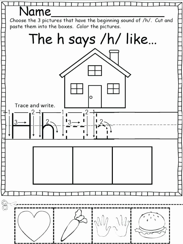 Cut and Paste Worksheets Free Color Cut and Paste Worksheets Collection Free Letter H