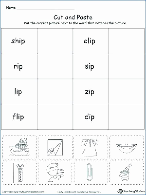 Cut and Paste Worksheets Free Reading Words Worksheets for Kindergarten Download them and
