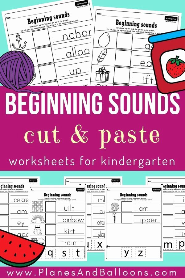 Cut and Paste Worksheets Kindergarten Beginning sounds Cut and Paste Worksheets