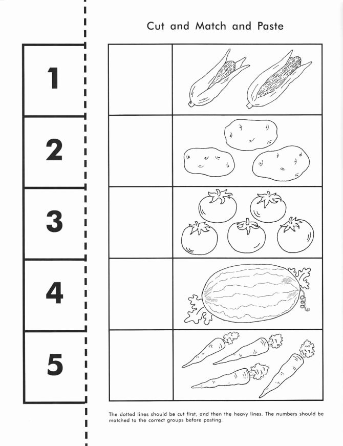 Cut and Paste Worksheets Kindergarten Free Matching Worksheets for Preschoolers Cut Count Match
