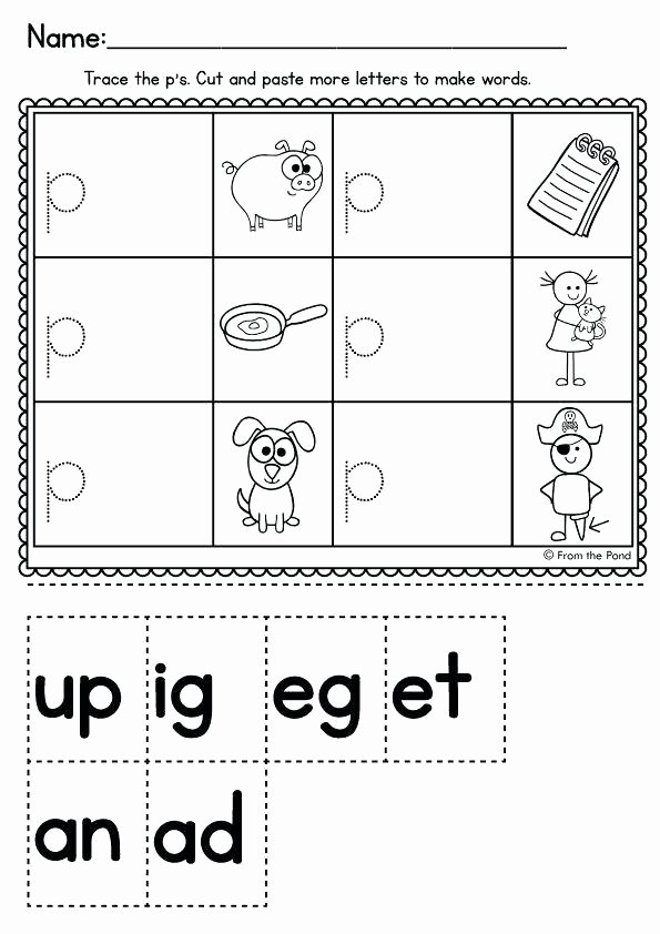 Cut and Paste Worksheets Kindergarten Free Printable Cvc Worksheets for Kindergarten Super