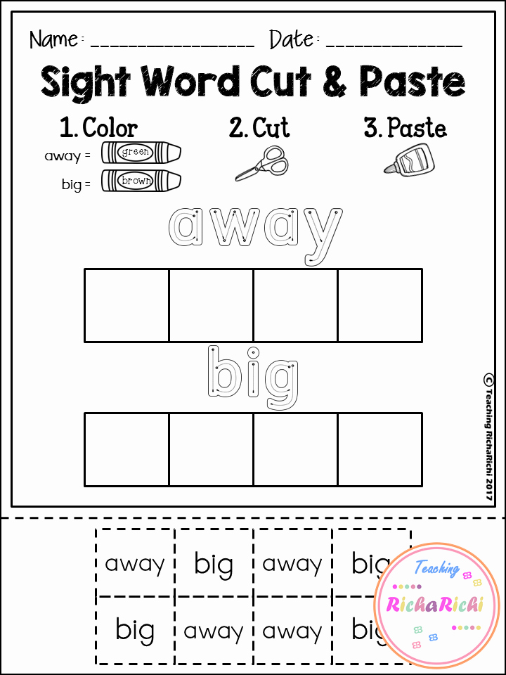 Cut and Paste Worksheets Kindergarten Free Sight Word Cut and Paste Worksheets Pre Primer