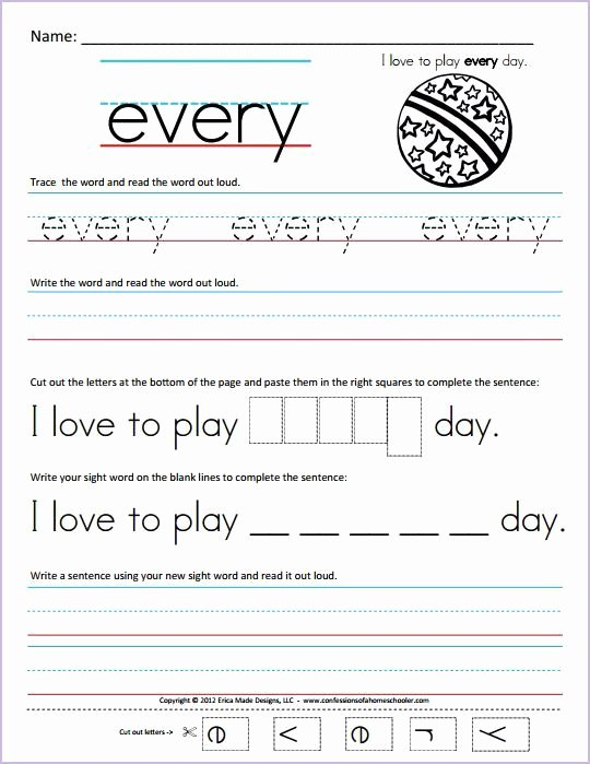 Cut and Paste Worksheets Kindergarten Kindergarten Sight Words Worksheets Sight Word Worksheets