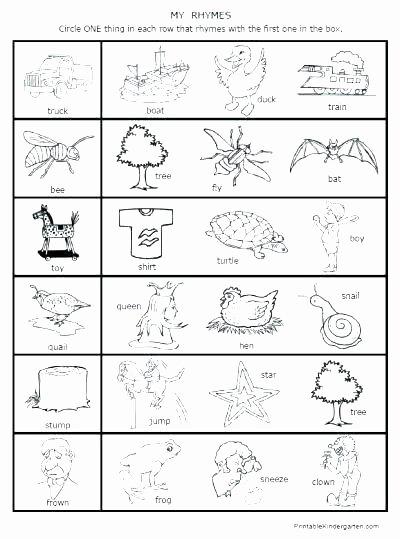 Cut and Paste Worksheets Kindergarten Rhyme Worksheets for Kindergarten Rhyming Worksheets for