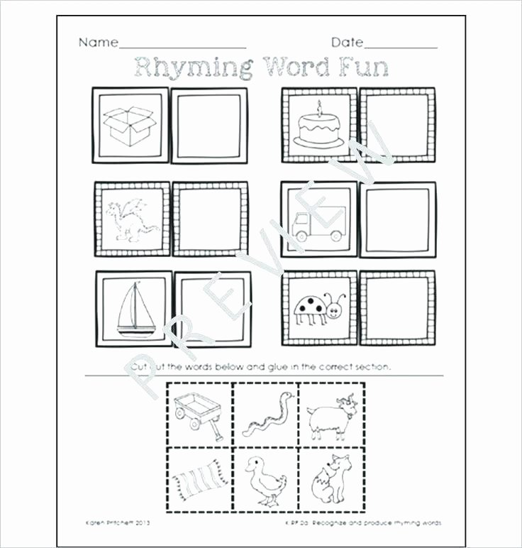 Cut and Paste Worksheets Kindergarten Rhyming Worksheets Kindergarten Fresh 8 Best Cut