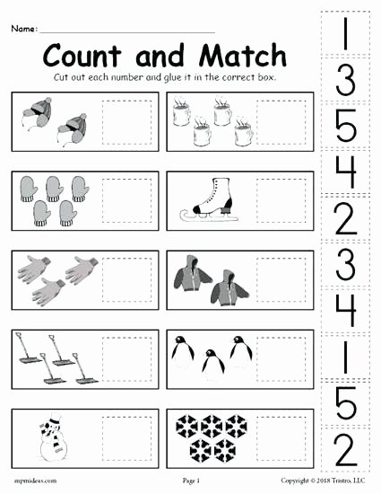 Cut and Paste Worksheets Luxury Free Printable Counting Worksheet for Kindergarten Tiny Whiz