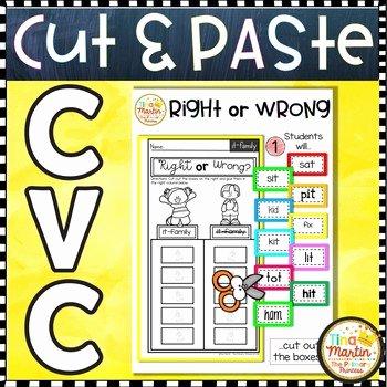 Cvc Cut and Paste Worksheets Cvc No Prep Cut and Paste Worksheets