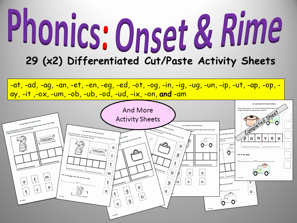 Cvc Cut and Paste Worksheets Cvc Set and Rime Cvc Differentiated Phonics Cut and Paste Activity Sheets Eyfs Year 1 Pre K K