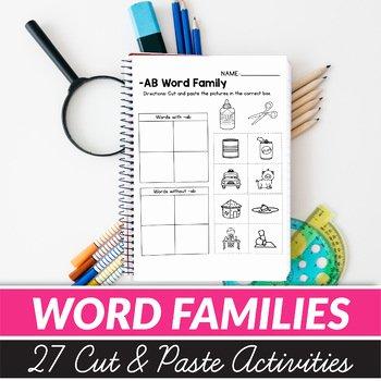 Cvc Cut and Paste Worksheets Cvc Word Families Worksheets Cut and Paste Worksheets