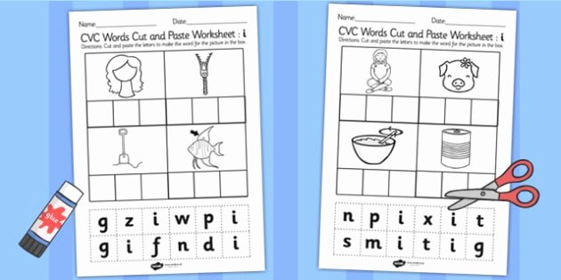 Cvc Cut and Paste Worksheets Cvc Words Cut and Paste Worksheets I Cvc Worksheets Cvc Words