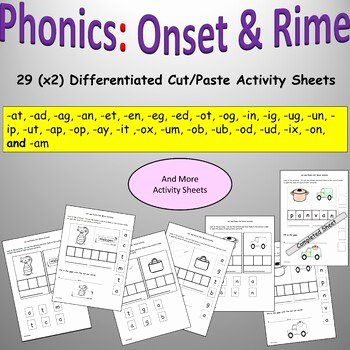 Cvc Cut and Paste Worksheets Cvc Words Set and Rime Phonics Cut and Paste Activities