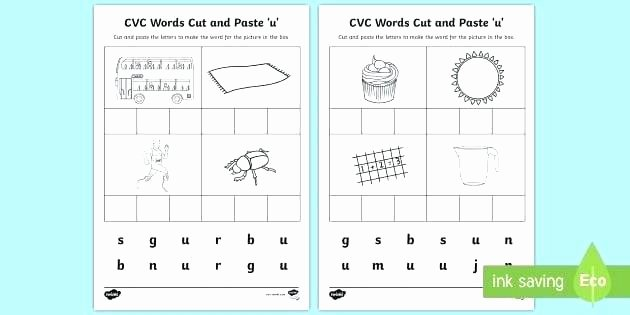 Cvc Cut and Paste Worksheets Printable Worksheets Words Cut and Paste U Literacy Phonics