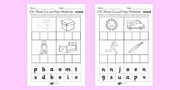 Cvc Cut and Paste Worksheets Words Worksheets Free Printable Cut and Paste Cvc
