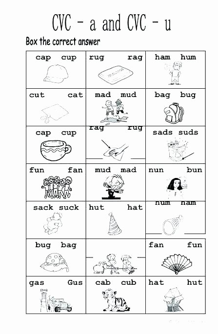 Cvc Words Worksheets Pdf Cvc Words with Worksheets Free Math for