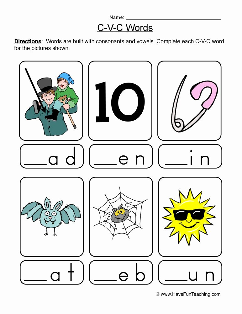 Cvc Worksheet Kindergarten Cvc Activities for Second Grade