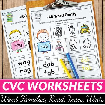 Cvc Worksheet Kindergarten Cvc Words Worksheets All Vowels Cvc Word Families