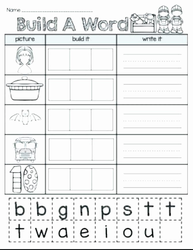 Cvc Worksheet Kindergarten Kindergarten Words Worksheets Cvc with Pdf