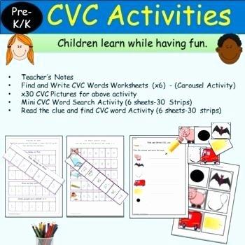 Cvc Worksheets for Kinder Blend Segment Words Read Write Activities Teacher Blending
