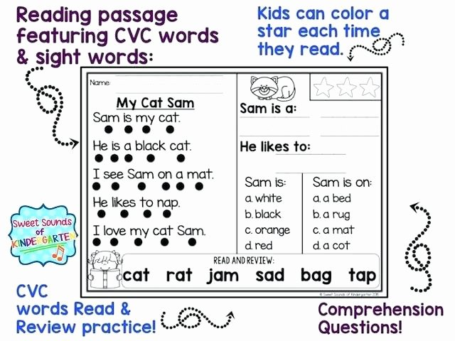 Cvc Worksheets Kindergarten Free Cvc Reading Passages Free Collection Reading