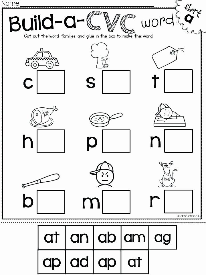 Cvc Worksheets Kindergarten Free Cvc Worksheets 2nd Grade