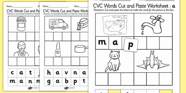 Cvc Worksheets Pdf Cvc Words Cut and Paste Worksheet Worksheet A Cvc
