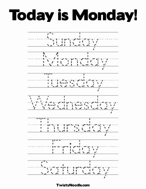 D Nealian Alphabet Worksheets Days Of the Week Coloring Page From Twistynoodle