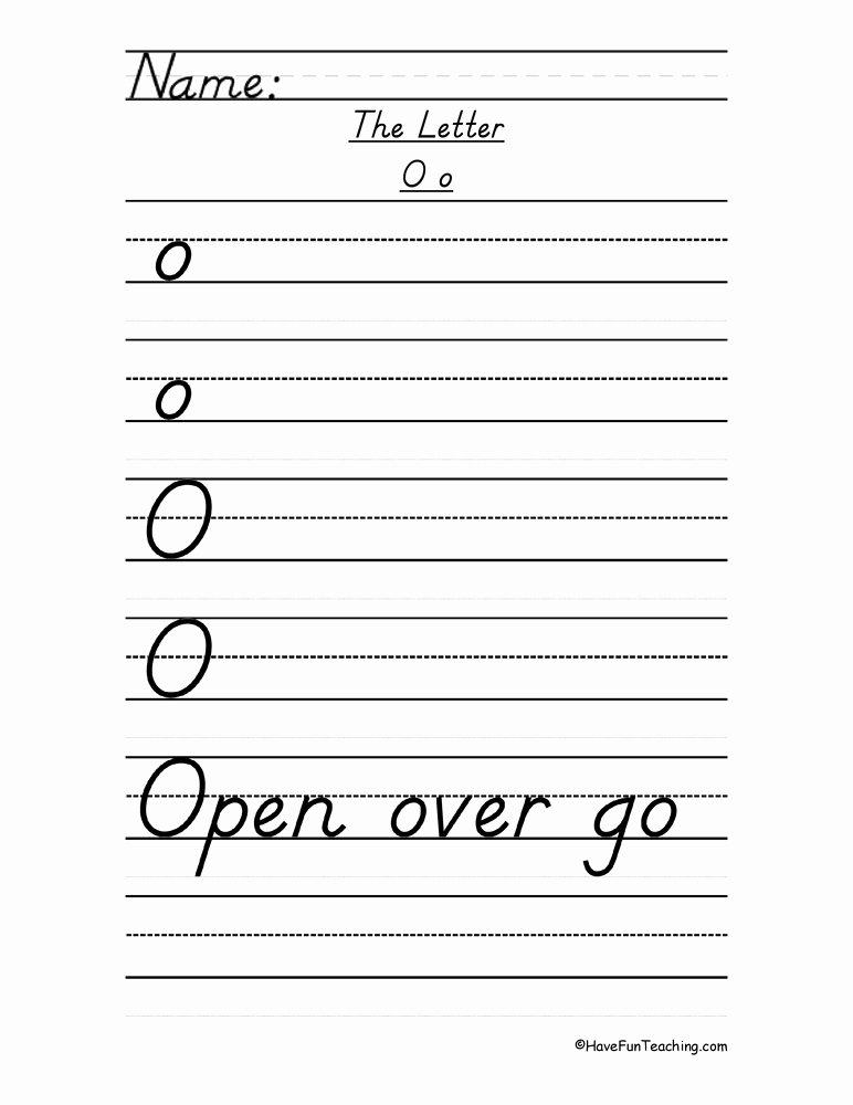D Nealian Alphabet Worksheets Letter O D Nealian Style Handwriting Practice Worksheet