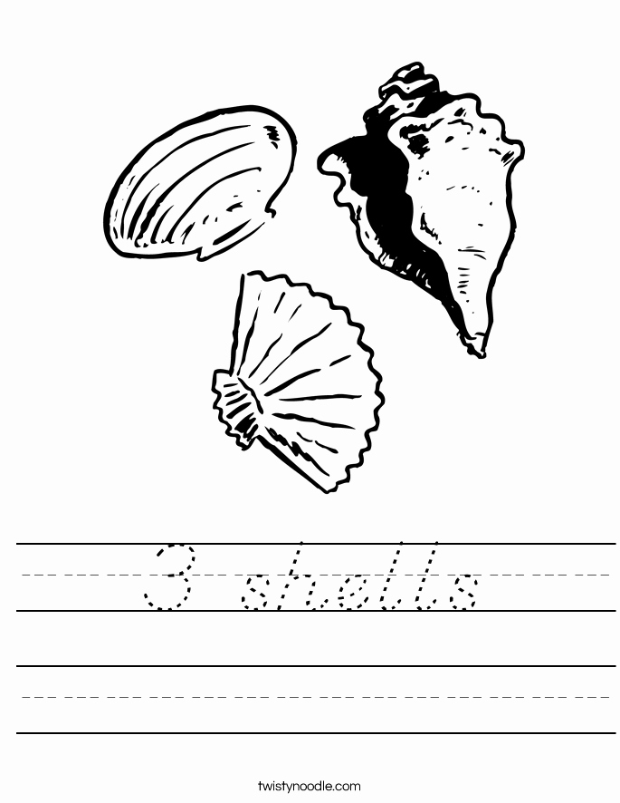 D Nealian Alphabet Worksheets Three Shells Worksheet From Twistynoodle Website This Site