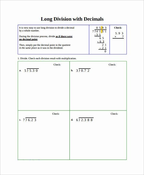 Decimal Division Worksheet Pdf Long Division Problems Pdf