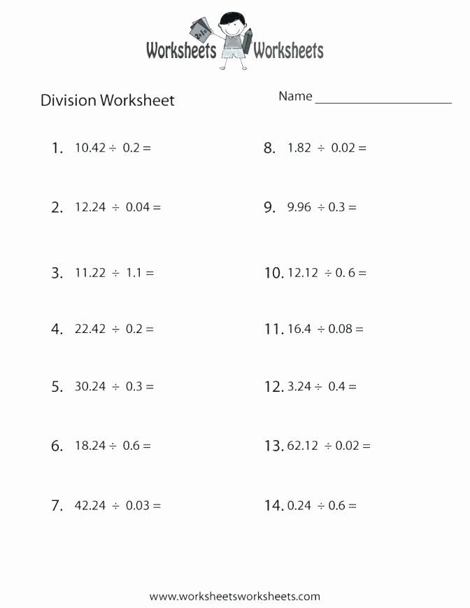 Decimal Long Division Worksheet Dividing with Decimals Worksheets Division Worksheet Preview