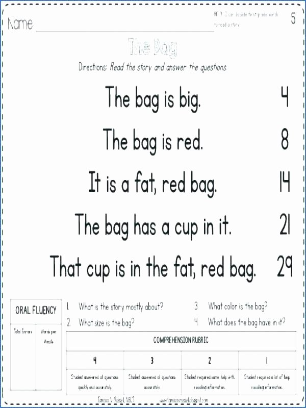 Decoding Worksheets for 1st Grade Elegant Fluency Passages First Grade 2 Free Reading Worksheets 1st