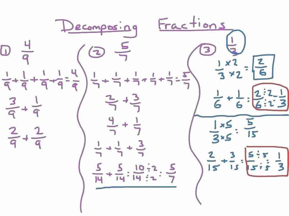 Decomposing Fractions Worksheets 4th Grade 4th Grade Fraction Worksheets with Answers