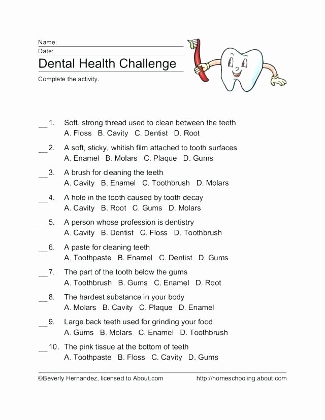 Dentist Worksheets for Kindergarten High School Health Rksheets Along with Re Mental Group