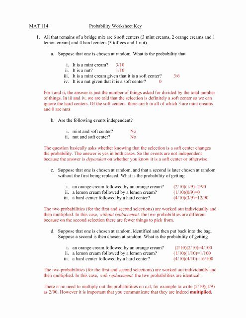 Dependent Probability Worksheet with Answers Mat 114 Probability Worksheet Key 1 All that Remains Of A