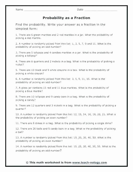 Dependent Probability Worksheet with Answers Probability Worksheets – Odmartlifestyle